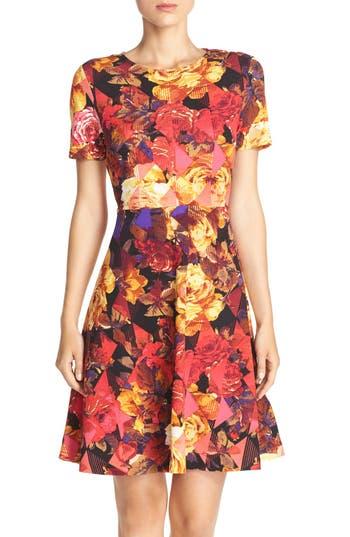 Eci Floral Print Fit & Flare Dress