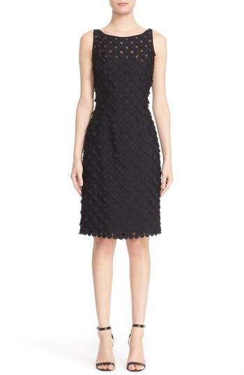 Carmen Marc Valvo Couture Circle Applique Sleeveless Sheath Dress