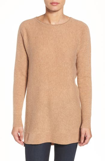 Halogen High/low Wool & Cashmere Tunic Sweater, Brown