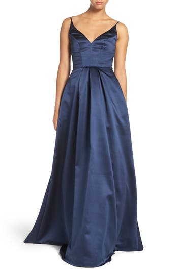Hayley Paige Occasions Sweetheart Neck Satin A-Line Gown