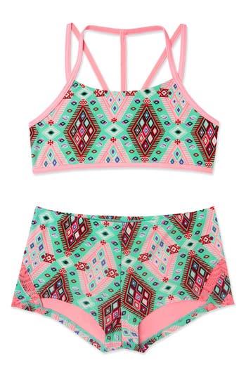 Girl's Gossip Girl 'Aztec Harvest' Print Two-Piece Swimsuit