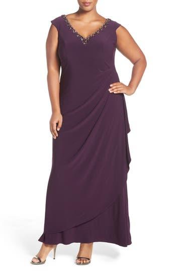 Plus Size Alex Evenings Embellished V-Neck Side Drape Jersey Gown