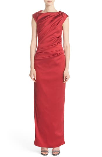 Talbot Runhof Bateau Neck Stretch Satin Column Gown, Red
