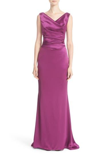 Talbot Runhof Drape V-Neck Matte Crepe Column Gown, Purple
