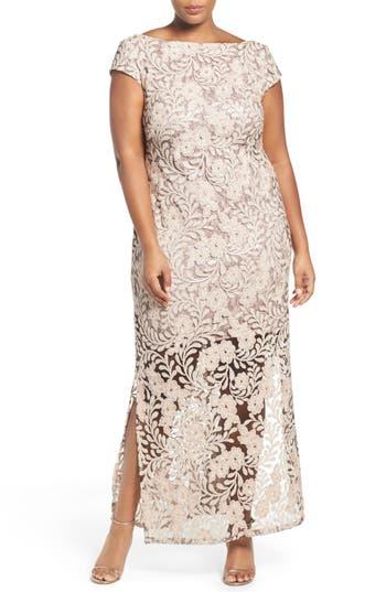 Plus Size Brianna Sequin Lace Column Gown