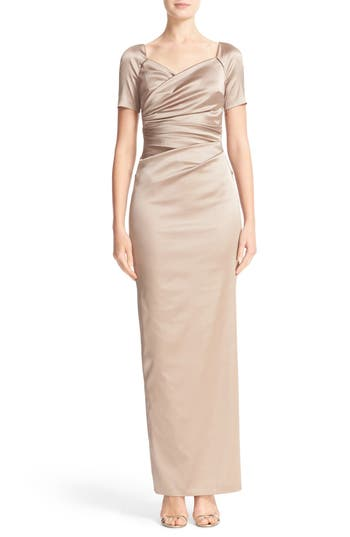 Talbot Runhof Cap Sleeve Ruched Satin Column Gown