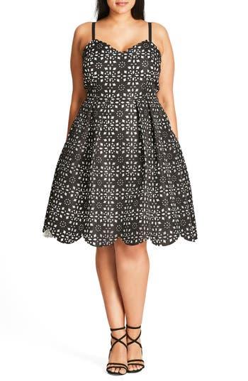 Plus Size City Chic Laser Lady Fit & Flare Dress