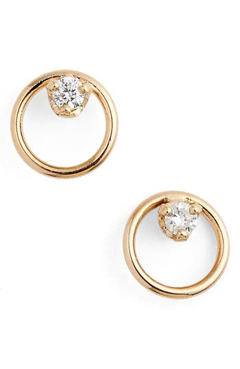 Zoë Chicco Diamond Circle Stud Earrings