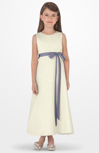 Girls Us Angels Sleeveless Satin Dress Size 6X  Grey