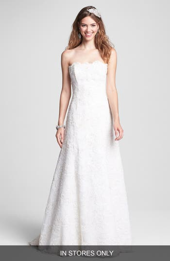 Bliss Monique Lhuillier Strapless Beaded Lace Wedding Dress