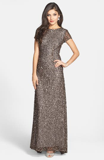 Adrianna Papell Short Sleeve Sequin Mesh Gown, Metallic