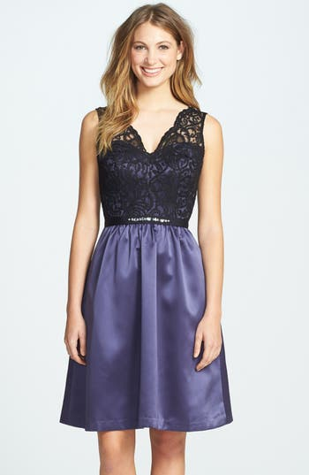 After Six Embellished Lace With Satin Fit & Flare Dress