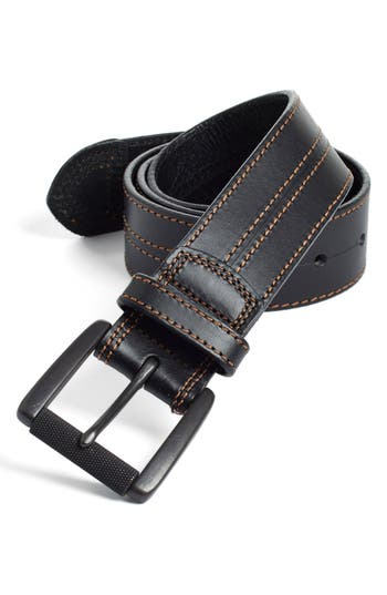 Big & Tall Johnston & Murphy Leather Belt, Black/ Brown