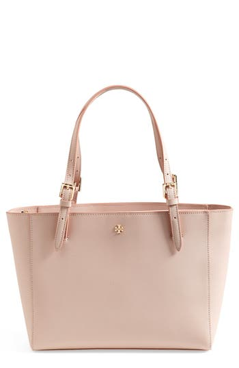 Tory Burch 'Small York' Saffiano Leather Buckle Tote - Beige