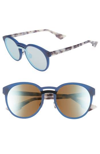 Dior Onde 1 50Mm Round Sunglasses - Matte Blue/ Havana