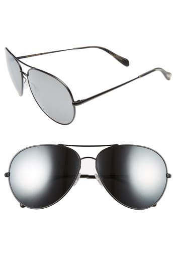 Women's Oliver Peoples Sayer 63Mm Oversized Aviator Sunglasses - Black/ Black