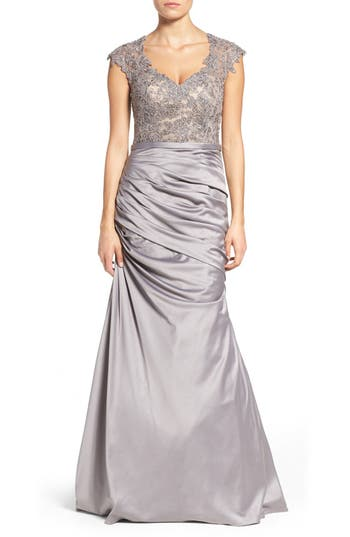 La Femme Embellished Lace & Satin Mermaid Gown, Metallic