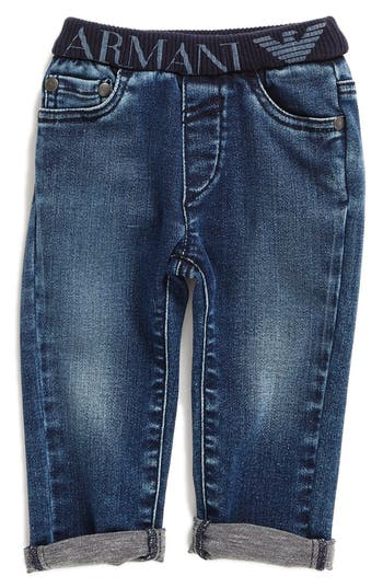 Infant Boy's Armani Junior Elastic Waist Cuffed Jeans