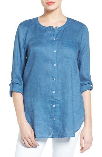 Two By Vince Camuto Collarless Linen Shirt, Blue