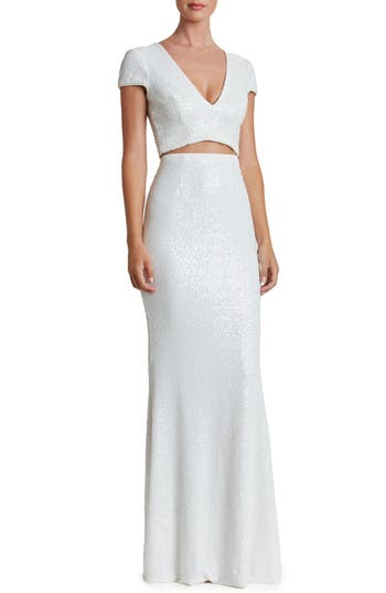 Dress The Population Cara Two-Piece Gown, White