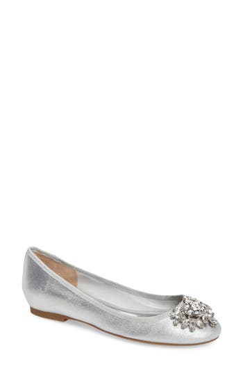 Badgley Mischka Bianca Embellished Ballet Flat, Metallic