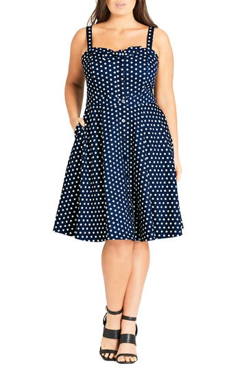 Plus Size City Chic Bow Polka Dot Dress