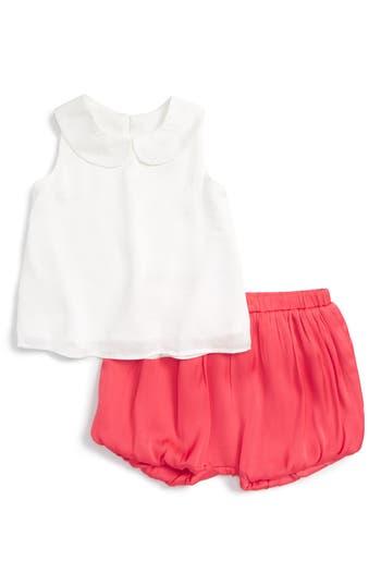 Infant Girl's Bardot Junior Peter Pan Top & Ruffle Bloomer Shorts Set