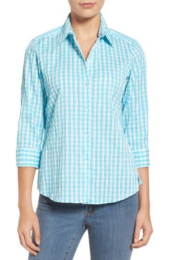 Petite Foxcroft Crinkled Gingham Shirt, Blue