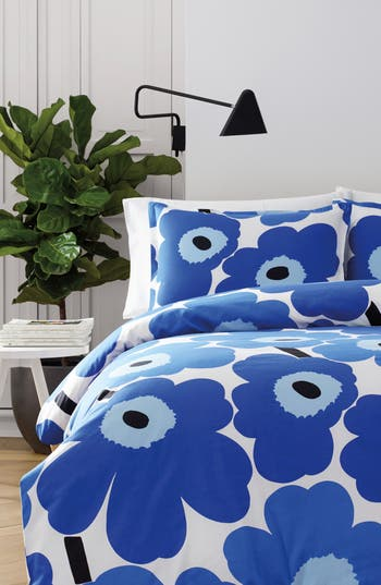 Marimekko Unikko Duvet Cover & Sham Set, Size King - Blue