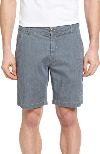 Bryant Stripe Bleached Denim Shorts,  33 - Blue