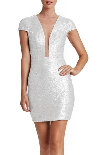 Dress The Population Kylie Sequin Minidress, White