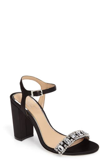 Jewel Badgley Mischka Hendricks Embellished Block Heel Sandal- Black