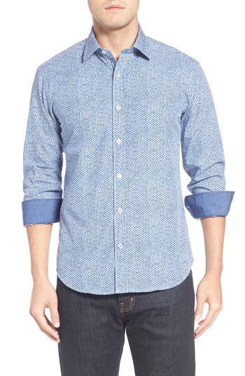 Men's Bugatchi Shaped Fit Print Sport Shirt
