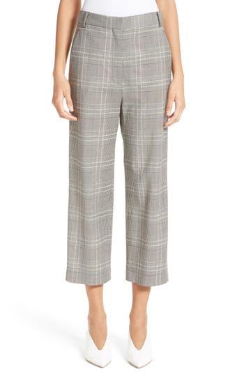 Women's Tibi Plaid High Rise Crop Pants