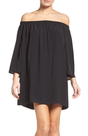 French Connection Polly Off The Shoulder Dress, Black