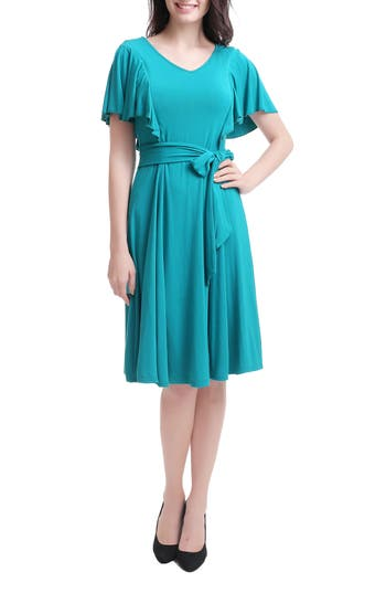 Kimi & Kai Rhea Tie Maternity/nursing Skater Dress, Blue/green