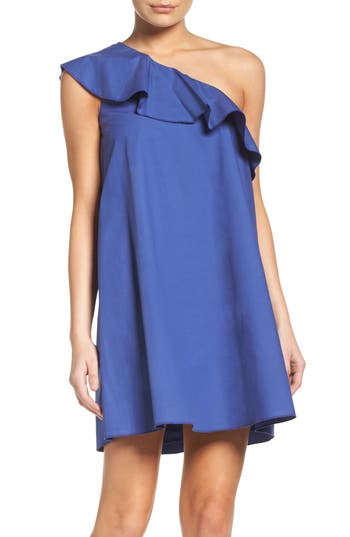 Nsr One-Shoulder Ruffle Dress, Blue