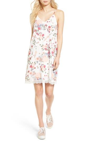 Love, Fire Floral Print Slipdress, White