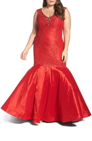 Plus Size MAC Duggal Embellished Lace & Taffeta Mermaid Gown