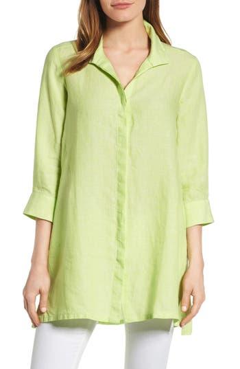 Foxcroft Chambray Linen Tunic, Green