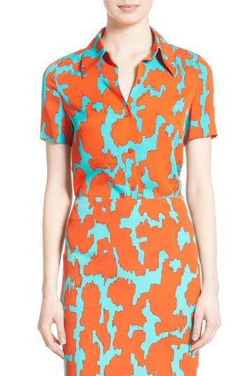 Women's Diane Von Furstenburg Print Stretch Silk Shirt