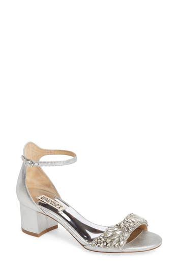 Badgley Mischka Tamara Crystal Block Heel Sandal, Metallic