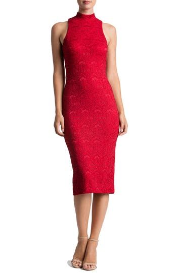 Dress The Population Norah Lace Midi Dress, Red