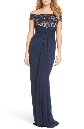 Adrianna Papell Sequin Lace & Tulle Gown, Blue