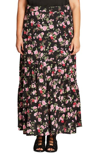 Plus Size City Chic Free Spirit Maxi Skirt, Red