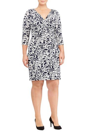 Plus Size Women's Lauren Ralph Lauren Paisley Faux Wrap Sheath Dress