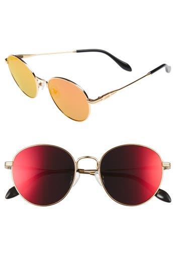 Sonix Ace 51Mm Round Sunglasses - Gold Wire/ Revo Mirror