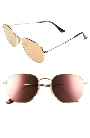 Ray-Ban 5m Hexagonal Flat Lens Sunglasses - Gold/ Pink