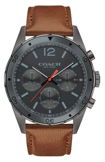 Men's Coach Sullivan Sport Chronograph Leather Strap Watch, 44Mm