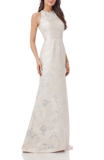 Carmen Marc Valvo Infusion Embellished Brocade Gown